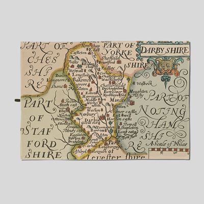 Christopher Saxton Derbyshire Map Tea Towel