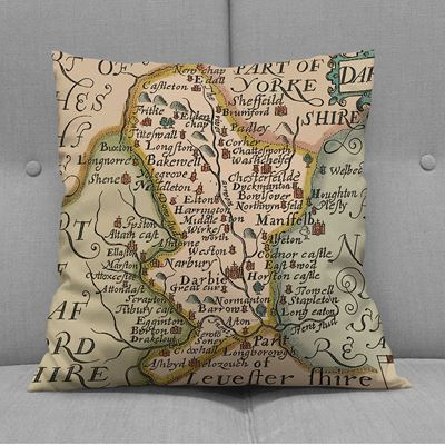 Christopher Saxton Derbyshire Map Cushion