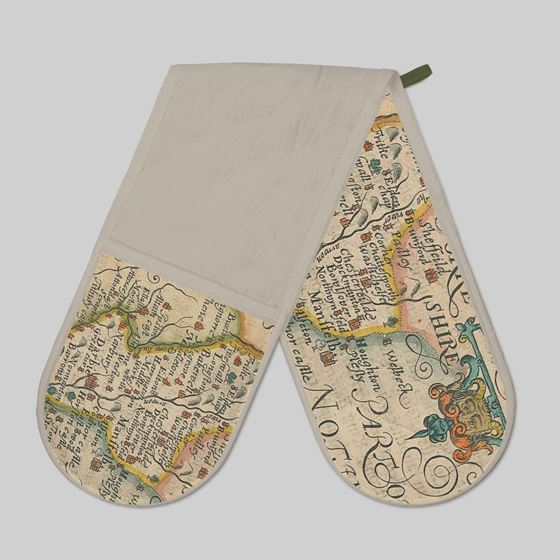 John Speed 1610 Map of Derbyshire Oven Gloves