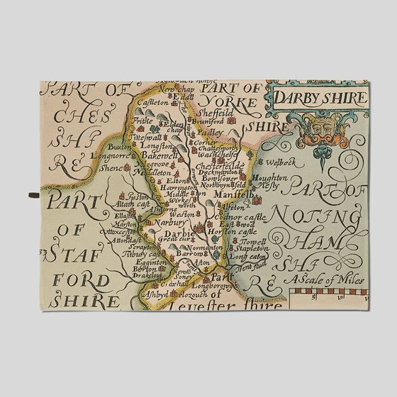 John Speed 1610 Map of Derbyshire Tea Towel